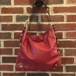 Coach Carly Red Leather Bag with Brass Hardware